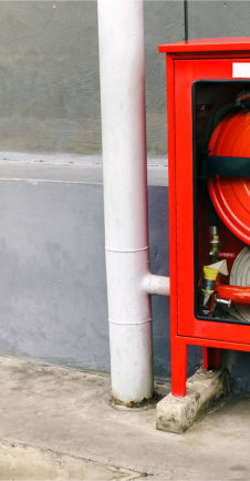 emergency water hose on a container