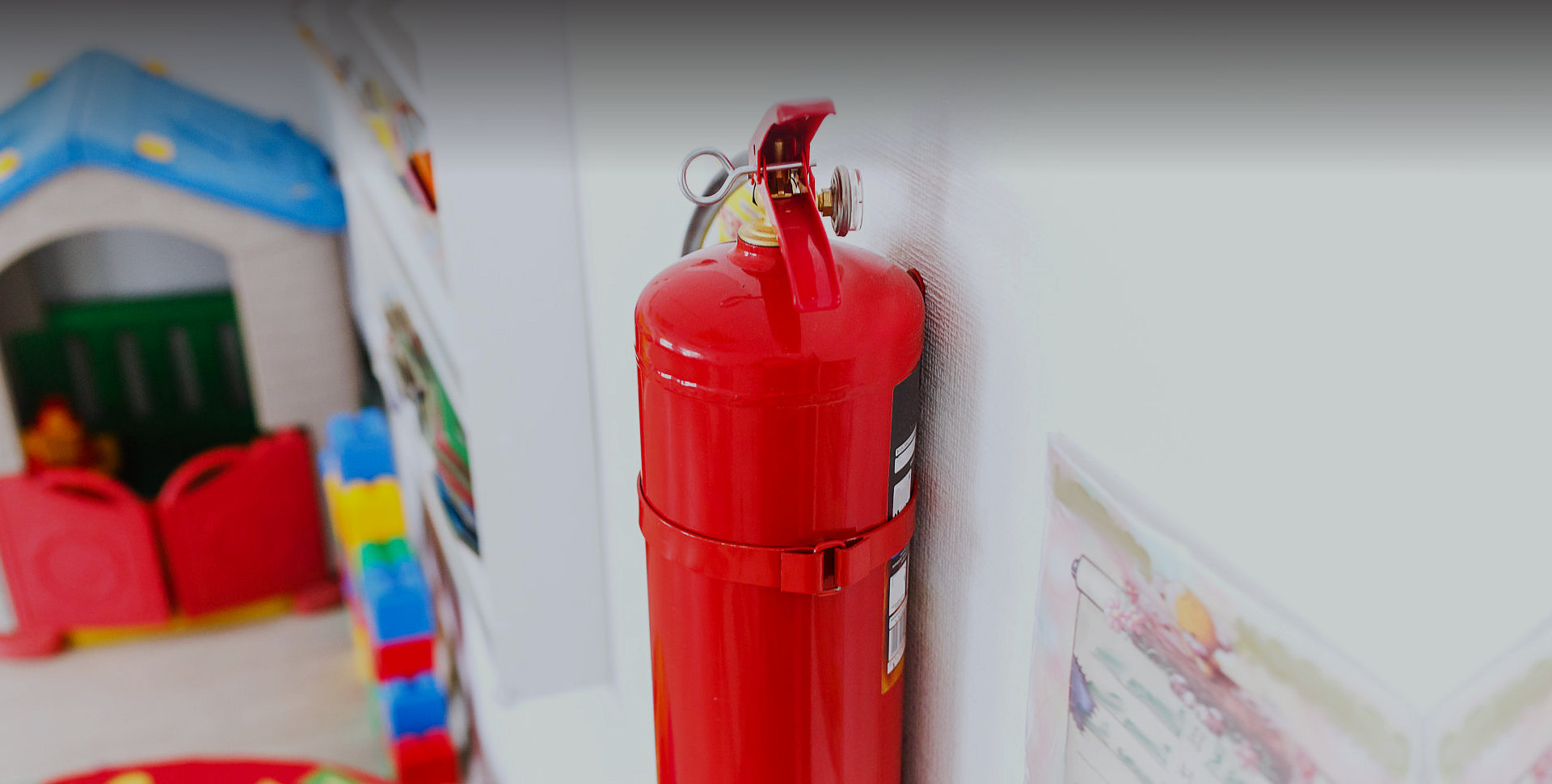 fire extinguisher mounted on a wall