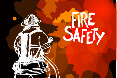 vector illustration of a fireman and fire safety sign